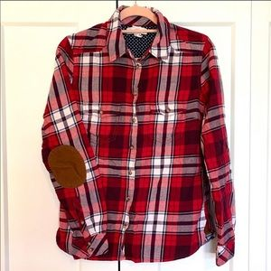 H&M Red Flannel button-down w/elbow patches size 4